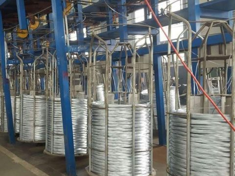 Steel wire coils placed in order for wire armoring process